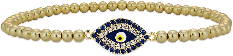 Anela Ranking TOP8 Evil Popular product Eye Bracelet 14kt Gold Beaded Filled Stretch and St