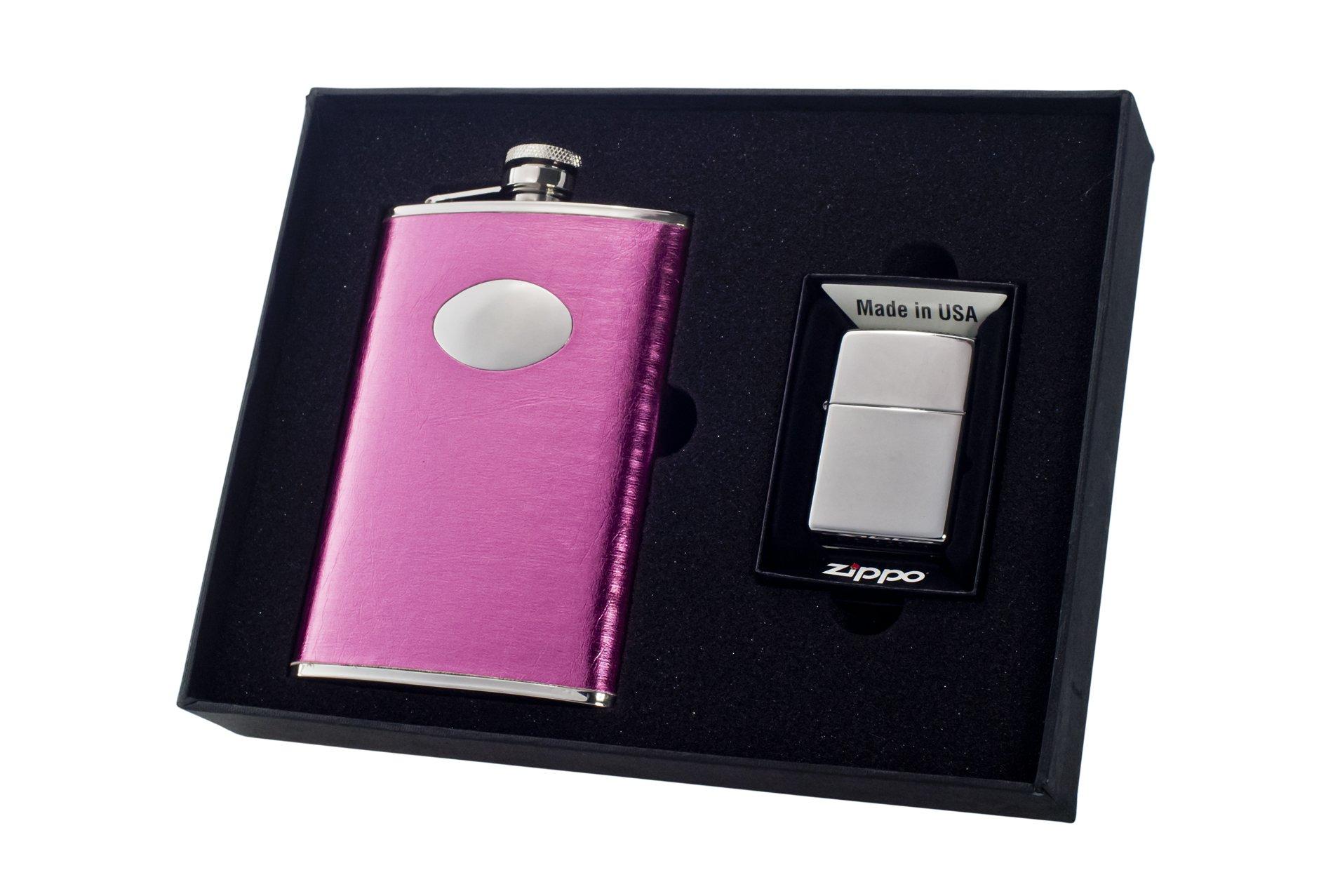 Visol''Marilia'' Flask and Zippo Lighter Gift Set, 8-Ounce