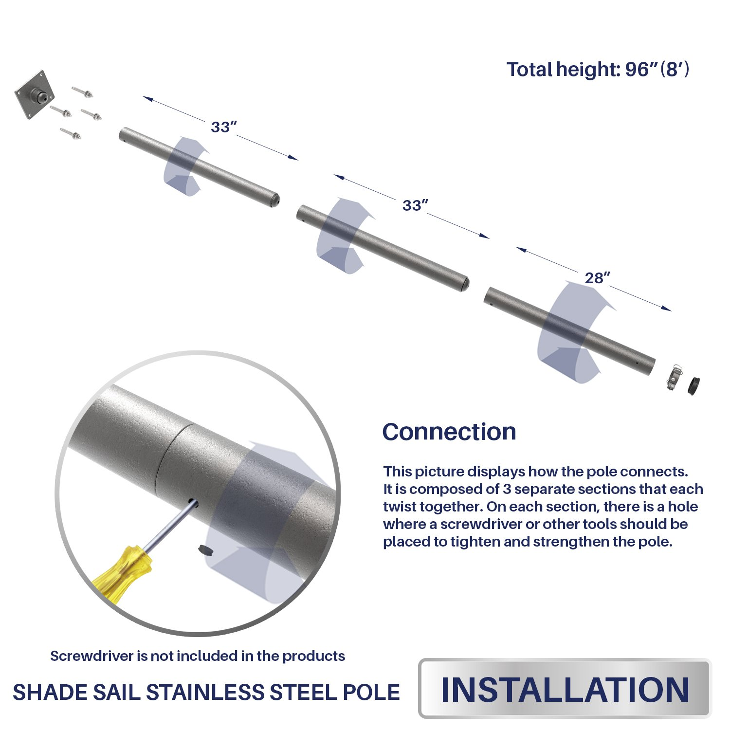 Windscreen4less 96'' Sun Shade Sail Pole,Knitted Shade Sail Stand Post,Awning Support Poles,Canopy support poles,Strengthen,Heavy-duty support-steel - gray by Windscreen4less (Image #4)
