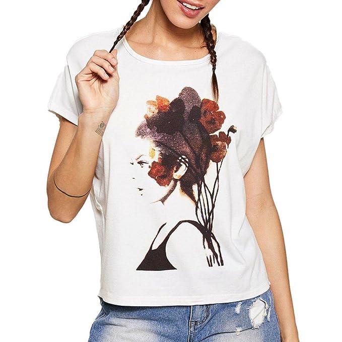 31a63785b1295e Longra Donna Estate 2018 Maglietta a Maniche Corte con Scollo Tondo Corto  Stampa di Ritratto Maglietta Corta Ragazza Stampa T-Shirt t-Shirt Donna  Bianca ...