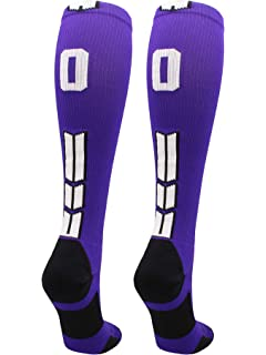 0b1a43d9daa MadSportsStuff Player Id Jersey Number Socks Over The Calf Length Purple  White
