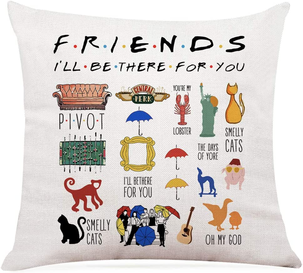 """Ihopes Inspirational Friends Quotes Pillow Covers - Vintage Friends TV Show Theme Pillow Case Cushion Cover for Sofa Couch Home RoomDecor Gifts for Friends Fan/Women/Men (18""""x 18""""Inch)"""