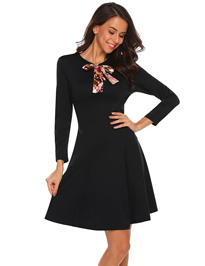 71d01506b3fa Misakia Women's Vintage Long Sleeve Lace Up Bow Tie Fit and Flare Dress at  Amazon Women's Clothing store:
