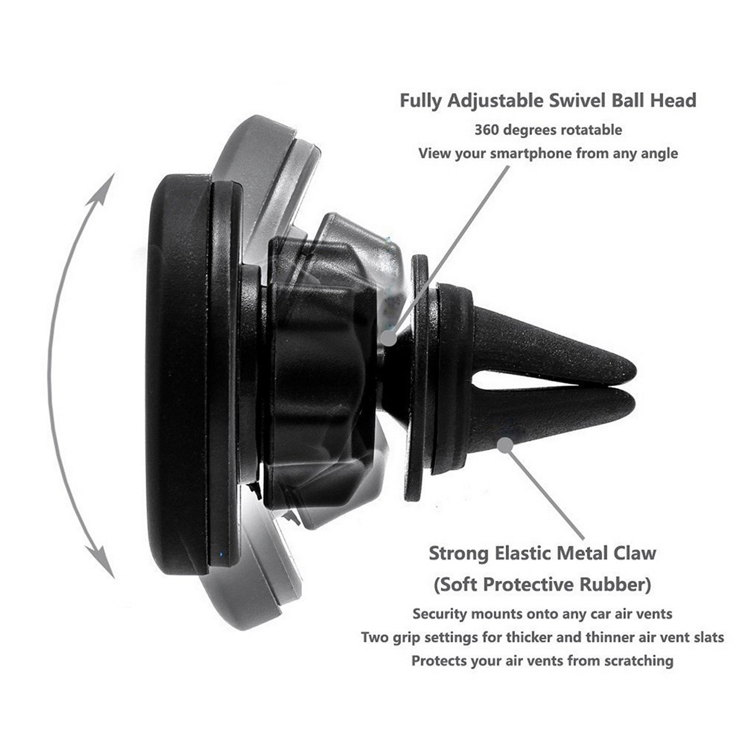 Universal Air Vent Magnetic Car Mount Holder for Smartphones including Iphone 7 Samsung Galaxy S7 Black Beyond Cell 4351576167 6 S7 Edge and Mini Tablets 6S