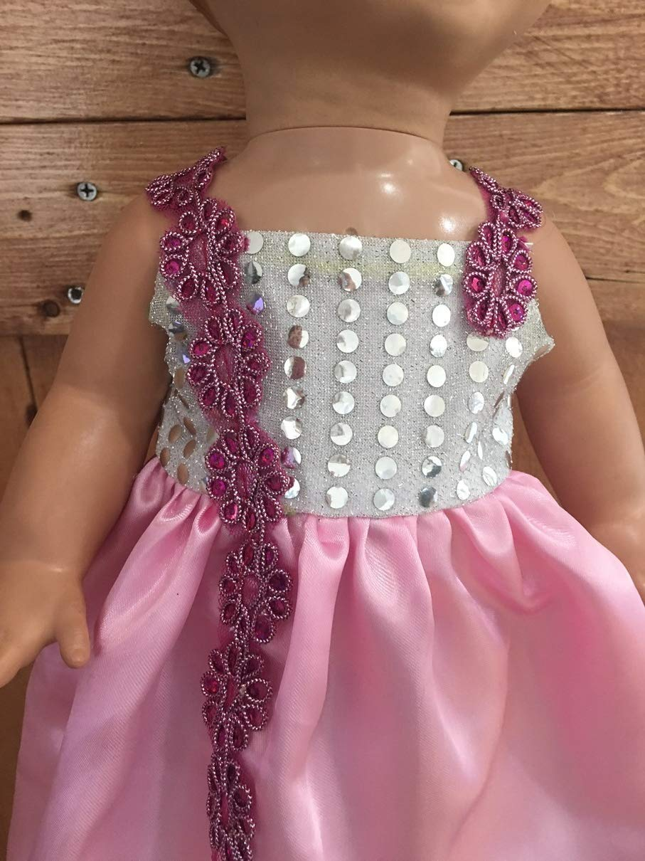 Princess Pink Sequins Dress Fits Luvabella Doll Gown Floral Appliques Sparkly Handmade NO DOLL