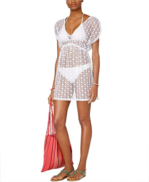 c0738c7339 Miken Women s Crochet Empire-Waist Cover-Up White Large at Amazon Women s  Clothing store