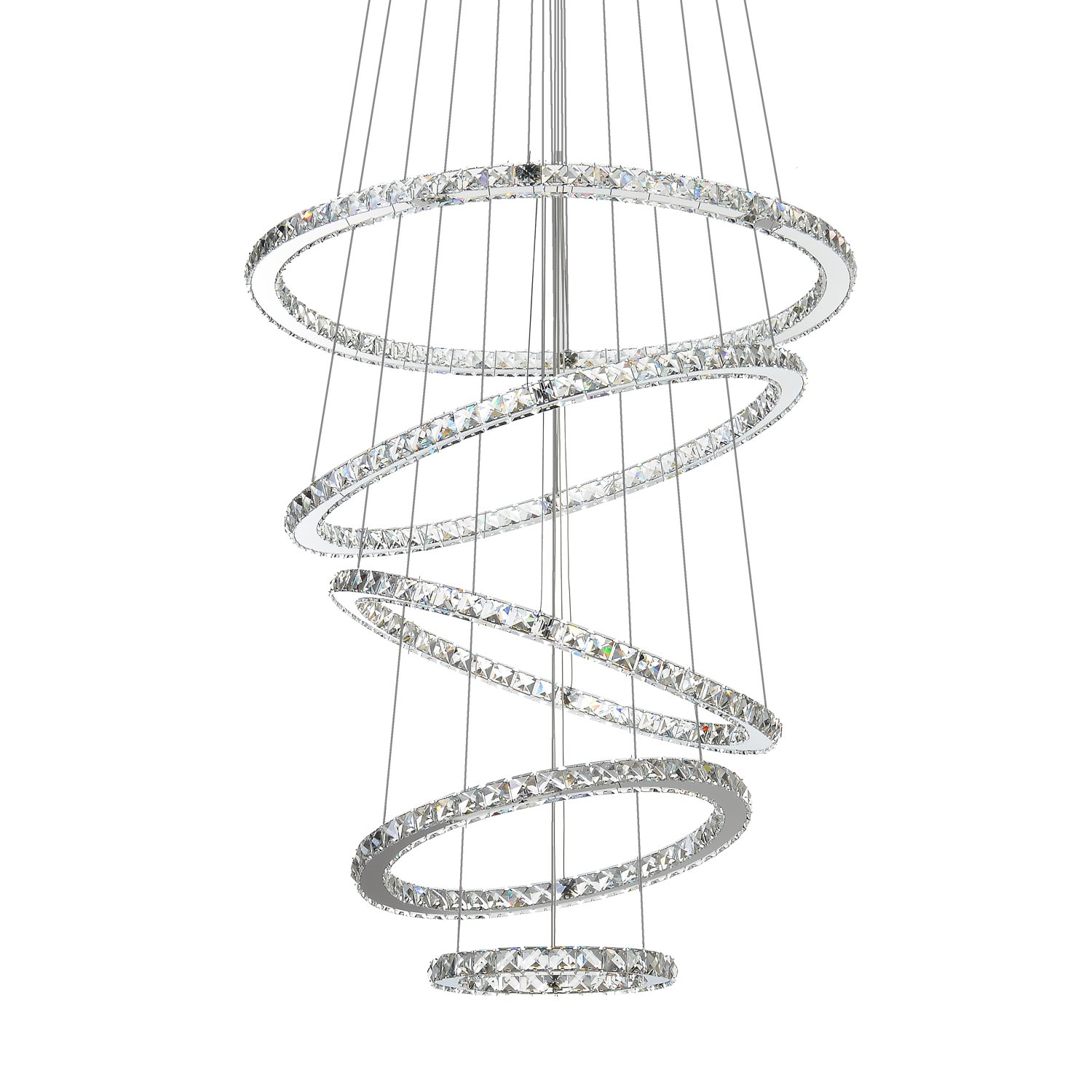 "MEEROSEE Crystal Chandeliers Modern LED Ceiling Lights Fixtures Pendant Lighting Dining Room Chandelier Contemporary Adjustable Stainless Steel Cable 5 Rings DIY Design D31.5""+27.6""+23.6""+19.7""+11.8"""