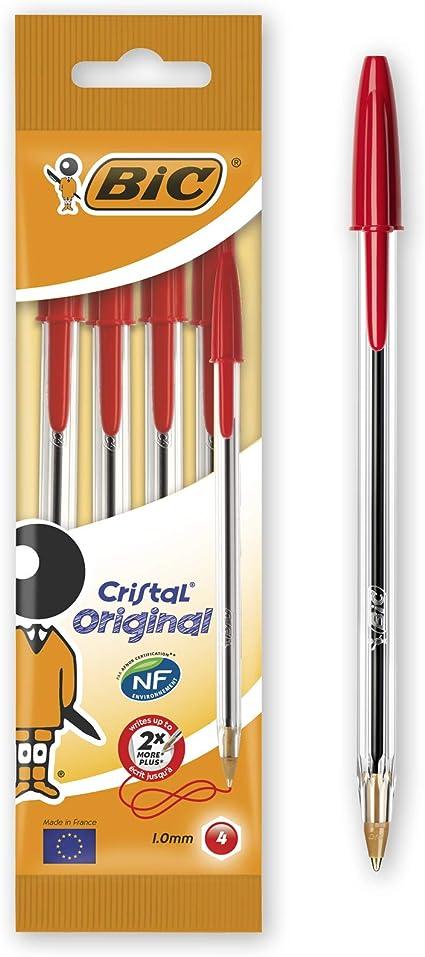 Bic Cristal Original - Bolígrafo de punta redonda, color rojo, pack de 4 unidades: Amazon.es: Oficina y papelería