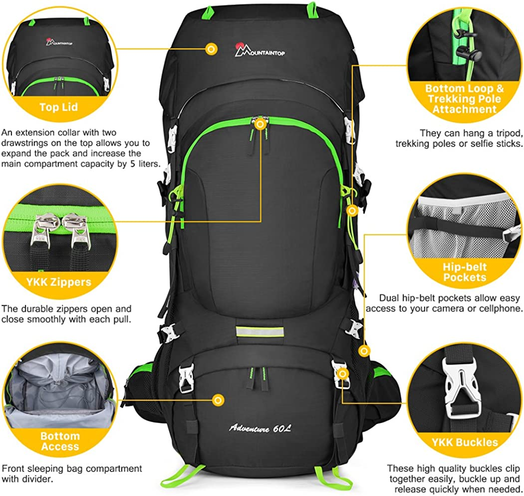 MOUNTAINTOP 60L Hiking Backpack Waterproof Mountaineering Rucksack for Men Women Travel and Camping Backpack with Rain Cover