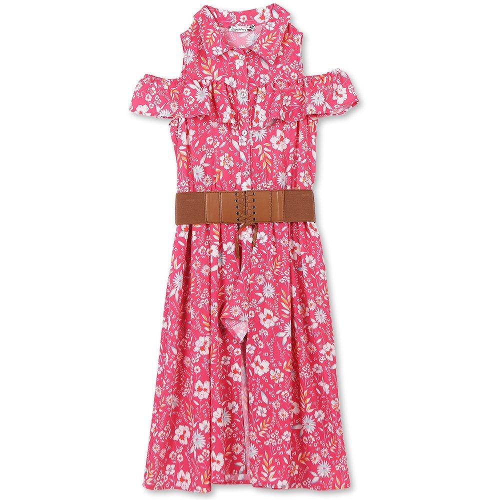 Speechless Big Girls' Cold-Shoulder Walk-Though Romper Dress, Fuchsia Turquoise, 7