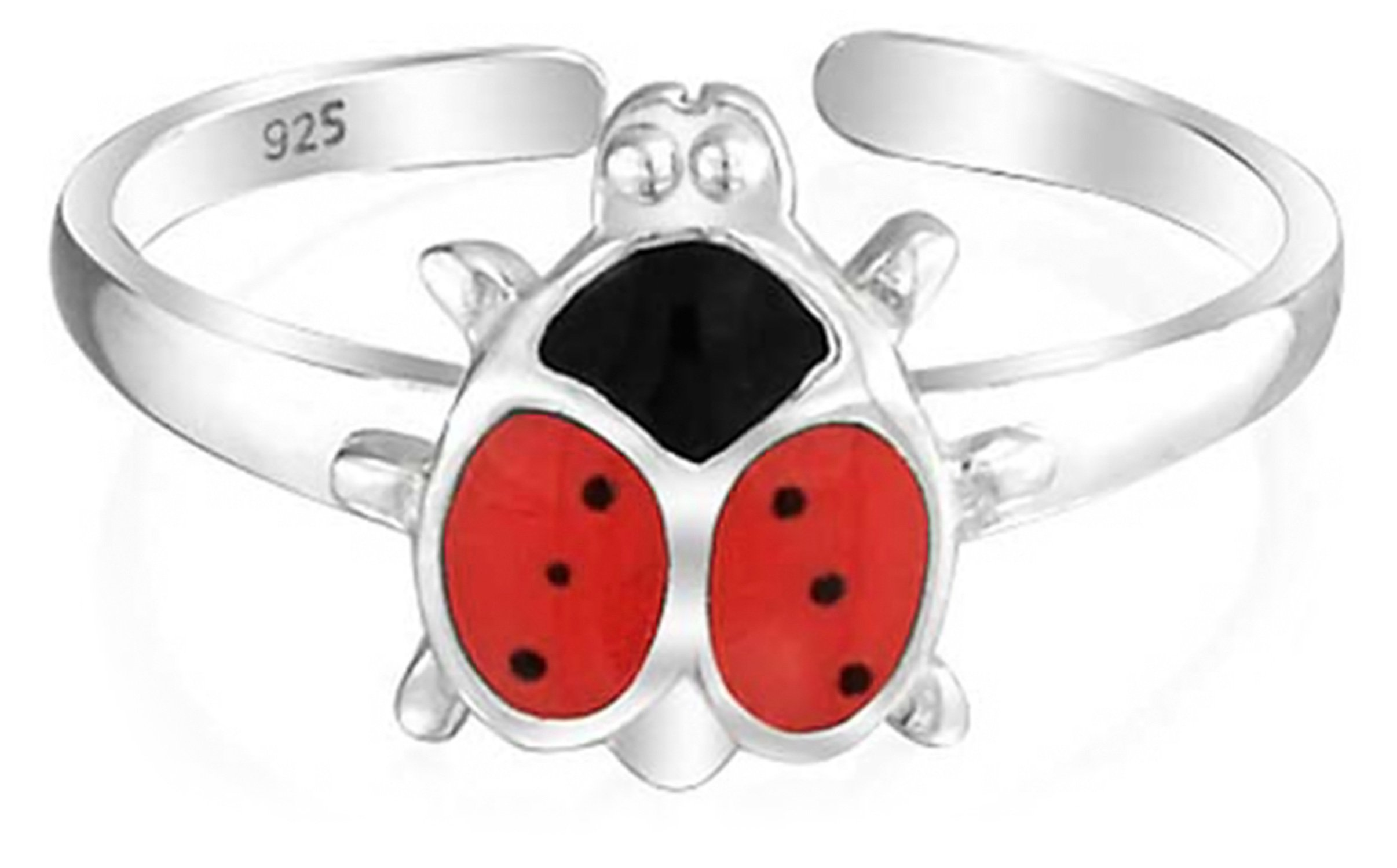 925 Silver Toe Rings Animal Red Enamel Ladybug Midi Ring