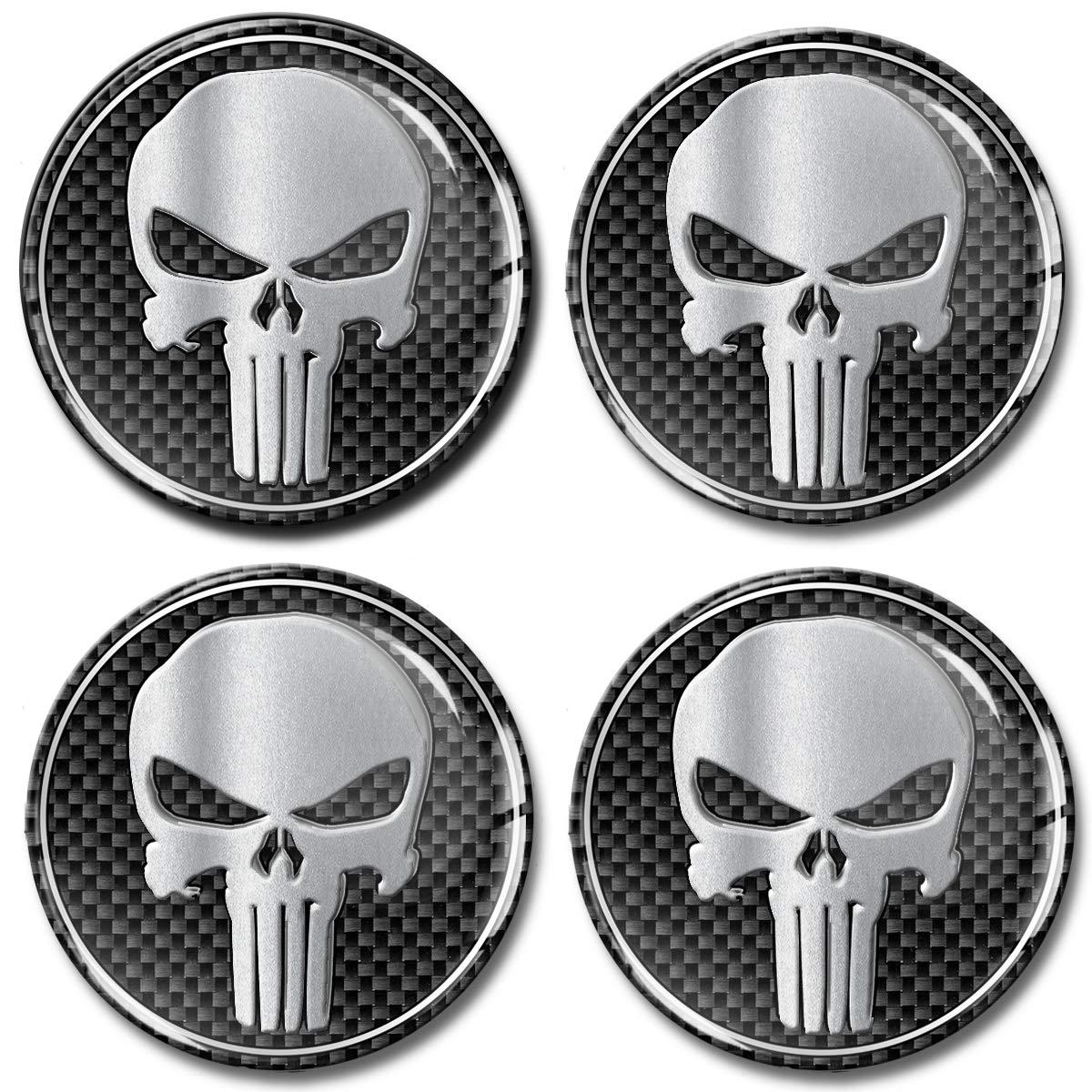 Skino 4 x 55mm Adesivi Resinati 3D Gel Stickers Auto Coprimozzi Logo Silicone Autoadesivo Stemma Adesivo Copricerchi Tappi Ruote Punisher Skull Teschio Argento Silver A 255