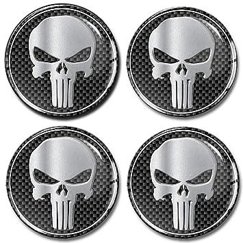 skino 4 x 60 mm pegatinas resinati 3d gel Stickers Logo silicona autoadhesivo Emblema Adhesivo Coche Tapacubos Tapacubos Tapones ruedas Punisher Skull ...