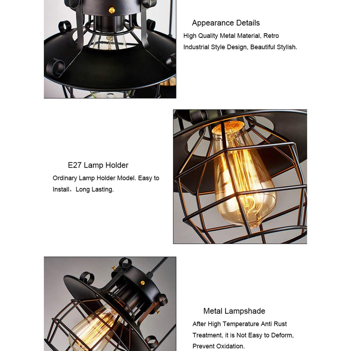 NANGE Modern Chandelier,Minimalist Creative Wrought Iron Pendant Lights,Bar Leisure Sound Industrial Wind Hanging Lamp,E27(Without Light Source) (Color : AC 110V) by NANGE (Image #7)