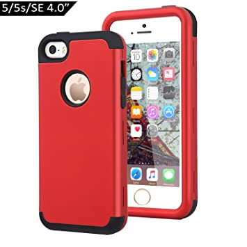Dailylux Funda iPhone 5s Funda iPhone SE Funda iPhone 5 Carcasa Protector TPU + PC Resistente a los arañazos para el iPhone 5S 5 SE -Rojo