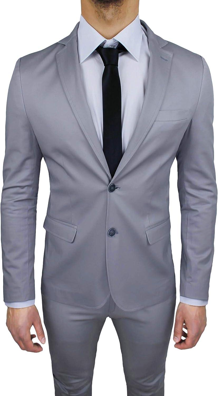 Abito Uomo Sartoriale Grigio Chiaro Completo Vestito Slim Fit Made in Italy Cotone Elegante e da Cerimonia