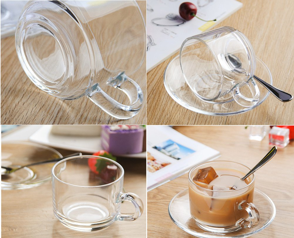 Amazon.com | Amao 6oz (200ml) Ultra Clear Glass Tea/Coffee Cup with Glass Saucer Milk Mug Drinkware Set of 2: Cup & Saucer Sets