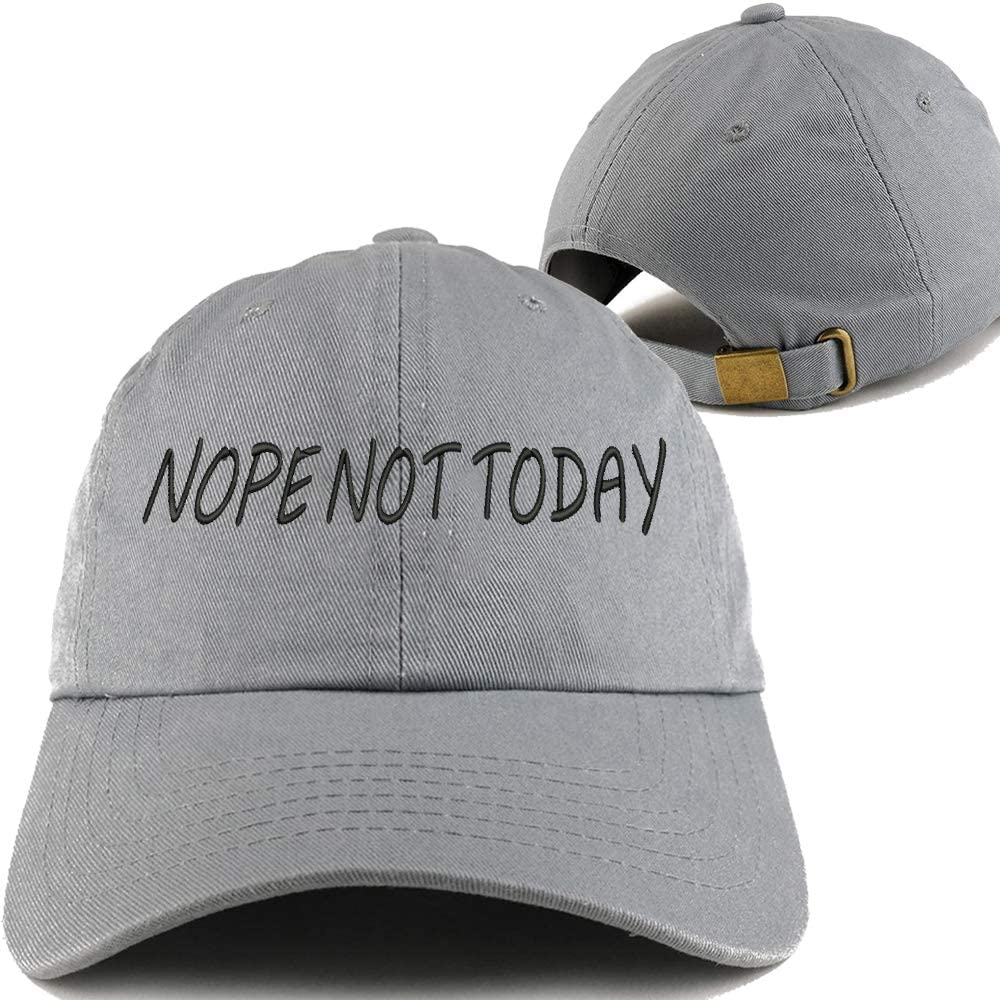 2-Pack Embroidered Dad Hat Classic Polo Style Grey Baseball Cap Unconstructed Nope NOT Today