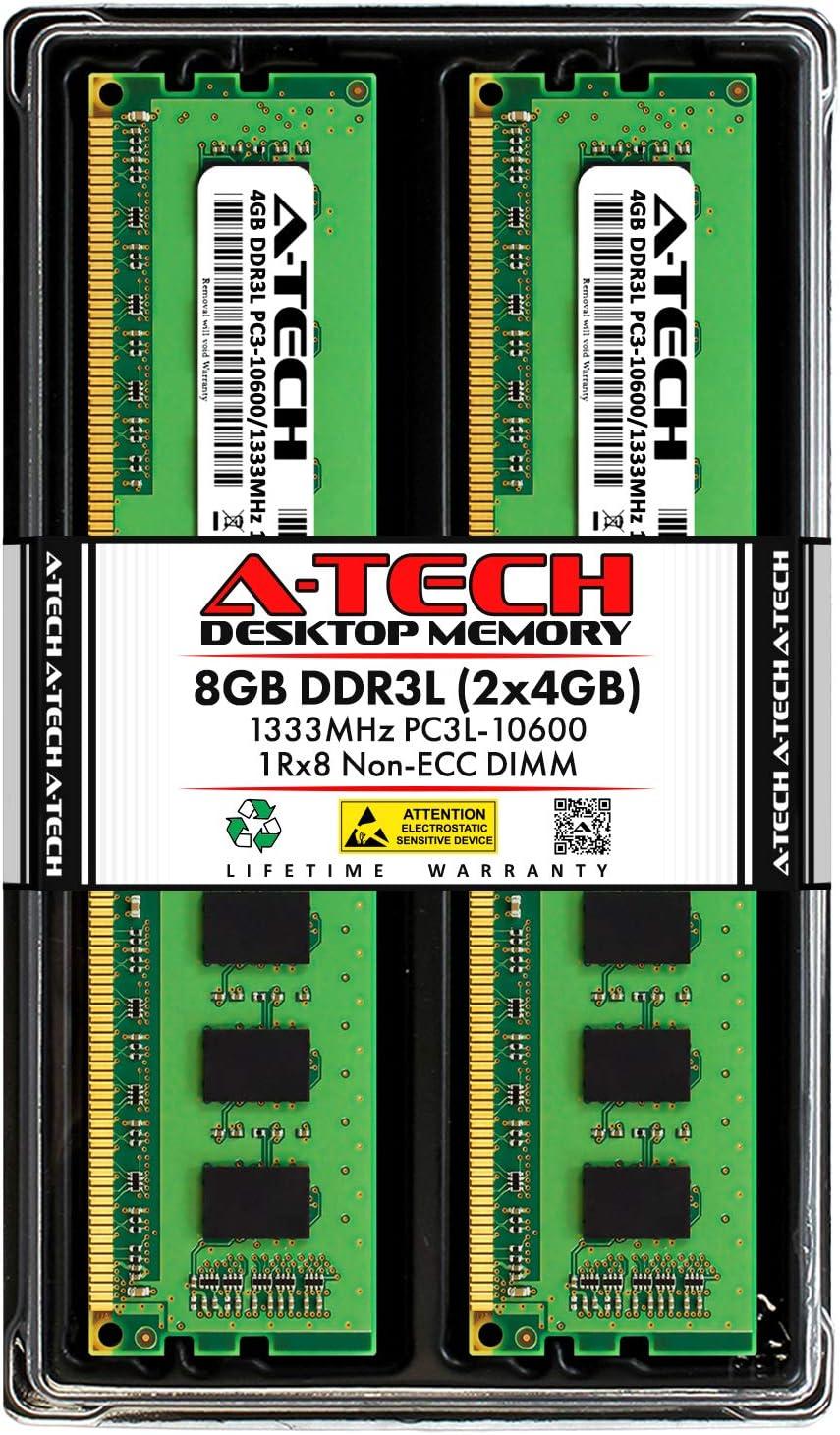 A-Tech 8GB DDR3 / DDR3L 1333MHz Desktop Memory Kit (2 x 4GB) PC3-10600 Non-ECC Unbuffered DIMM 240-Pin 1Rx8 1.35V Low Voltage Single Rank Computer RAM Upgrade Sticks