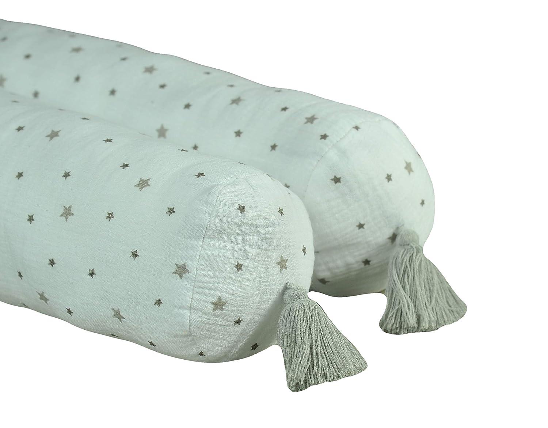 berceau ou lit /Étoiles 190 cm pour lit 100/% coton Lit /à roulettes Serpent Grey-Stars MoMika Bed Bumper Snake