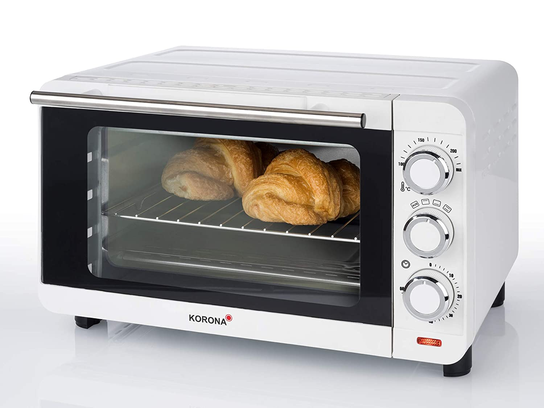 KORONA Mini-Backofen Weiß Minibackofen 1500 Watt Krümelblech Miniofen Toastofen