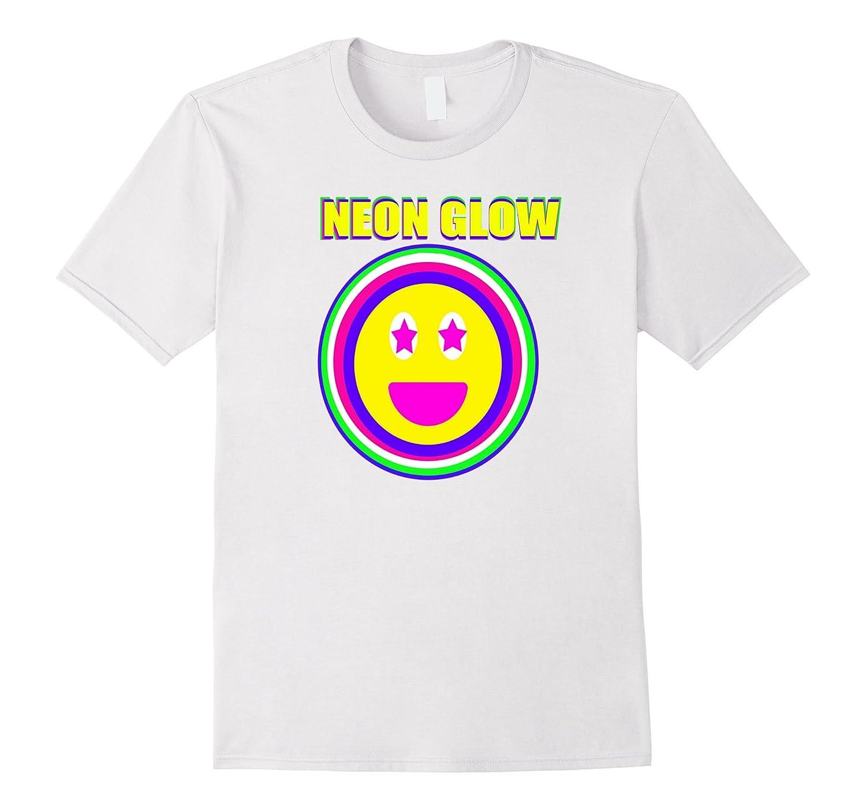Neon Glow Party Smiley Face Emoji Theme Party Shirt Purple