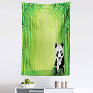 """Lunarable Panda Tapestry, Panda in a Bamboo Forest Summertime Tropical Exotic Nature Theme Picture, Fabric Wall Hanging Decor for Bedroom Living Room Dorm, 30"""" X 45"""", Green Black"""