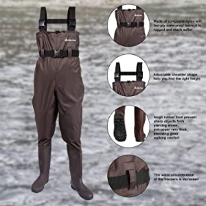 ANAZIGO Fishing Chest Waders for Men and Women with Boots