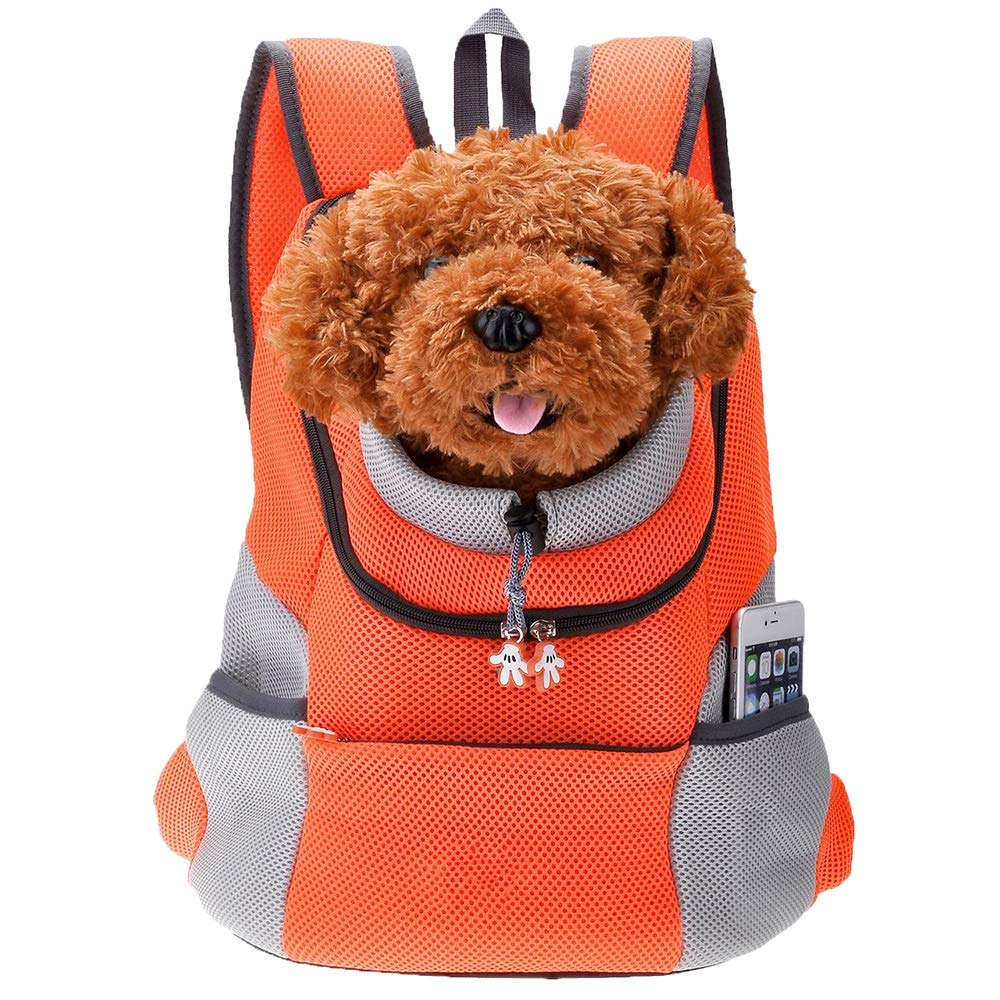 Large Pet Backpack Pet Front Carrier Comfortable and Durable Breathable Mesh Outdoor Travel Backpack(orange)