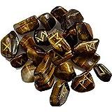 natürlichen Tigerauge Steinen Rune Set 25PC Tumble Edelsteine Reiki Healing Therapie