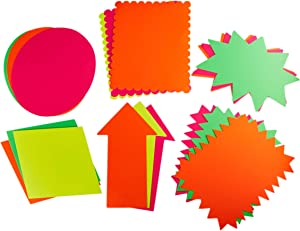 Juvale 18-Count Neon Poster Board Cutout Shapes, 6 Designs, 11 x 14 Inches
