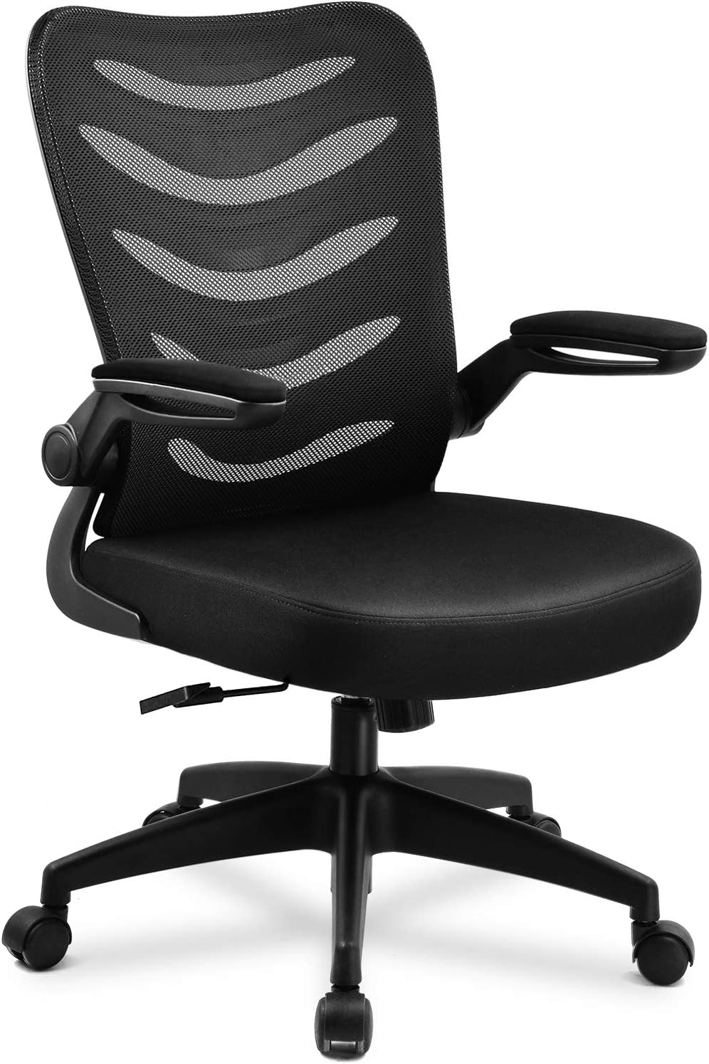 Amazon Com Comhoma Desk Chair Ergonomic Office Chair Mesh Computer Chair With Flip Up Arms Lumbar Support Adjustable Swivel Mid Back For Conference Home Office Black Furniture Decor