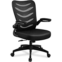 ComHoma Desk Chair Ergonomic Office Chair Mesh Computer Chair with Flip Up Arms Lumbar Support Adjustable Swivel Mid Back for Conference Home Office, Black