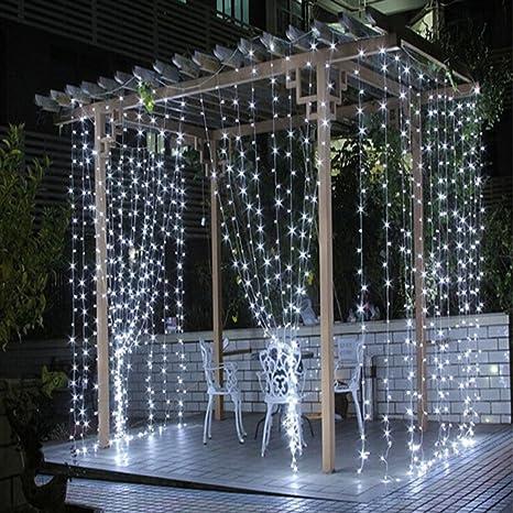 Guirnalda LED de Cortina 300 Luces Blancas Exterior 3m x 3m 220V ...
