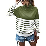 KIRUNDO 2021 Women's Turtleneck Knitted Sweater Long Sleeves Stripe Color Block Patchwork Loose Ribbed Pullover Jumper Tops