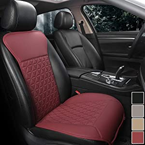 Black Panther 1 Piece Luxury PU Leather Front Car Seat Cover Protector Compatible with 95% Cars (Sedan/SUV/Pickup/Van), Triangle Quilted Design - Burgundy