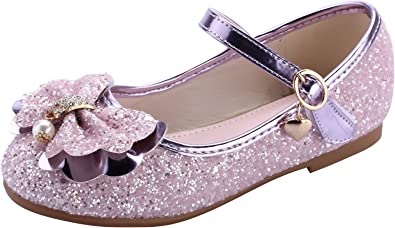 UK Girls Shoes Kids Glittery Ankle Striped Casual Princess Flat Dress Party SIZE