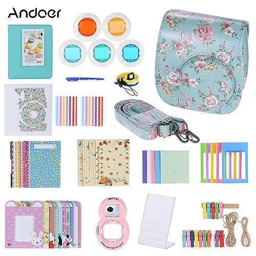 Andoer 14in1 Accessories Kit for Fujifilm Instax Mini 8 8+ 8s 9 Case Strap Sticker Selfie Lens Colored Filter Album Kinds Film Table Frame Wall Hanging Frame Border Sticker Corner Sticker Pen