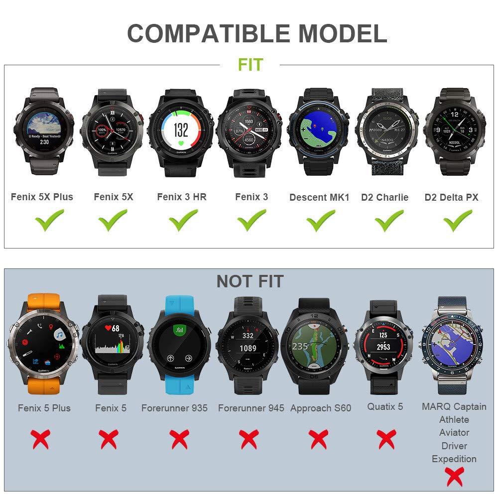 Notocity Compatible Fenix 5X Band 26mm Width Soft Silicone Watch Strap for Fenix 5XFenix 5X Plus//Fenix 3/Fenix 3 HR Smartwatch-6pcs by NotoCity (Image #7)