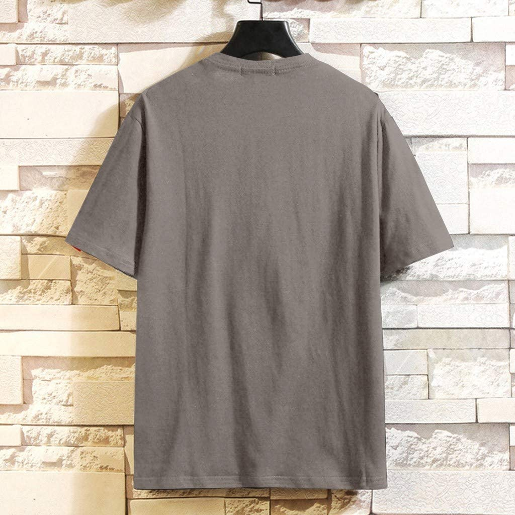 Large Size Mens Casual Loose Solid Short Sleeve O-Neck T Shirts Tops Blouse