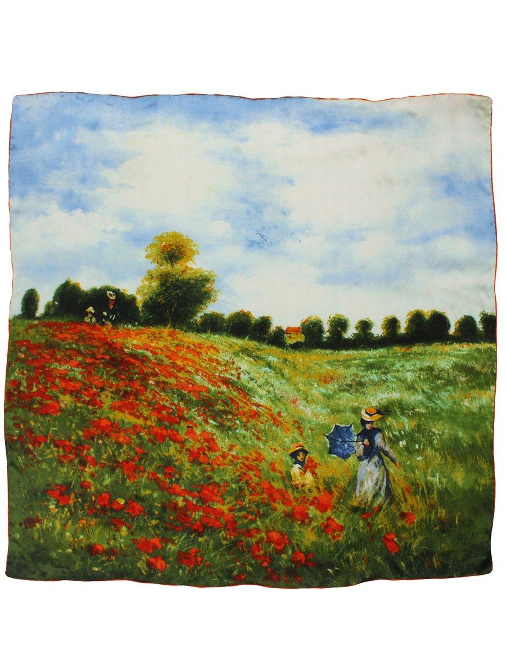 Dahlia Women's 100% Square Silk Scarf Claude Monet''Poppy Field in Argenteuil''