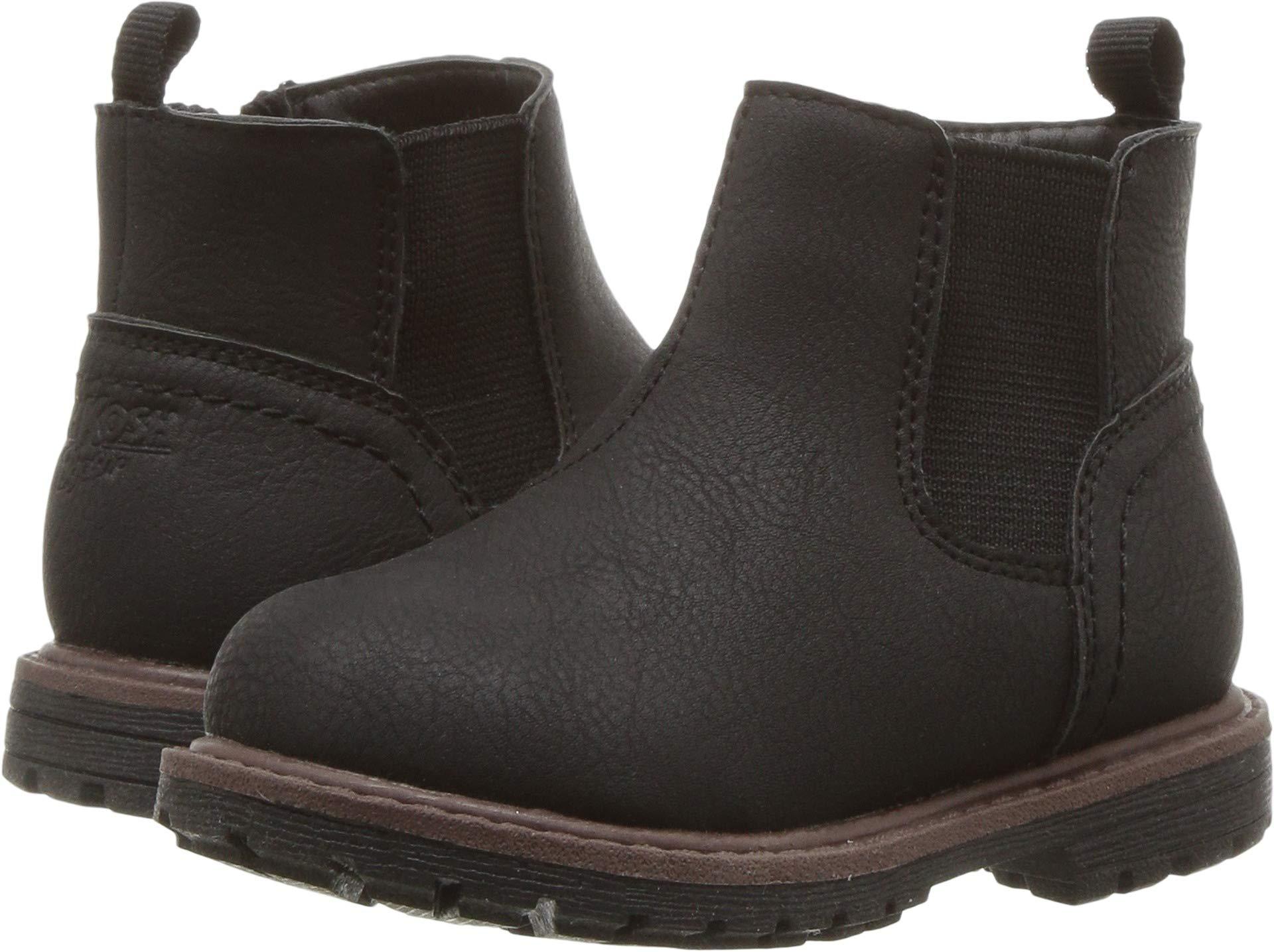 OshKosh B'Gosh Boys' Duran Zip up Combat Boot, Black, 6 M US Toddler