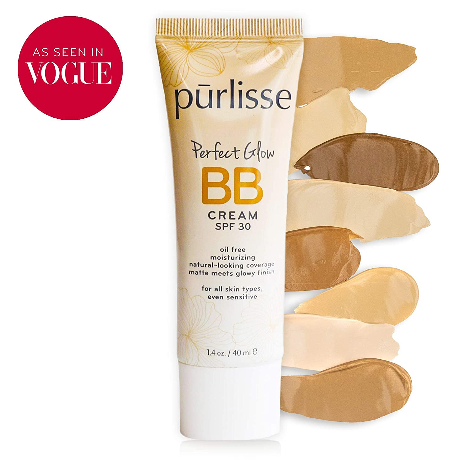 purlisse BB Tinted Moisturizer Cream SPF 30 for All Skin Types, Medium Tan, 1.4 Ounce