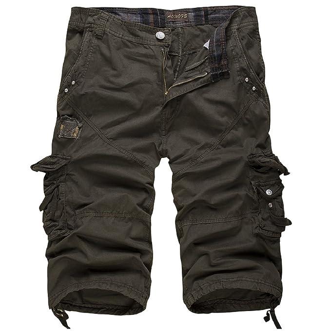 Mens 3//4 Length Cargo Pants jeans Shorts Baggy Casual Cotton Denim Trousers size