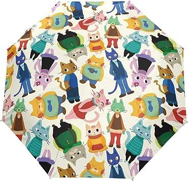 Lovely Cartoon Group Of Cats Windproof Automatic Tri-Fold Foldable Umbrella Cartoon UV Protection Travel Unbreakable Compact Portable Sun Rain Umbrella