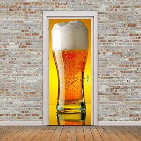 Mengyunzhang 3d Giant Beer Mug Door Sticker Diy Home