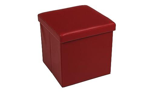 Pouf bordeaux contenitore scatola sgabello poggiapiedi pieghevole