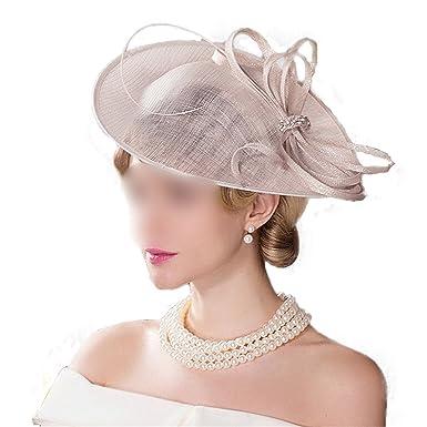 Fascinators for Women Beige Wedding Kentucky Derby Church Hats Summer  Ladies Linen Pillbox Hat Large Brim Chapeu Fedoras at Amazon Women s  Clothing store  c177ee5629a