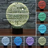 3D Lamp Death Star Table Lamp Optical Illusion Visual Led Night Light for Star Wars, Elstey 7 Colors with Acrylic Plate& ABS Base& USB Charge, Touch Sensitive Switch Lights