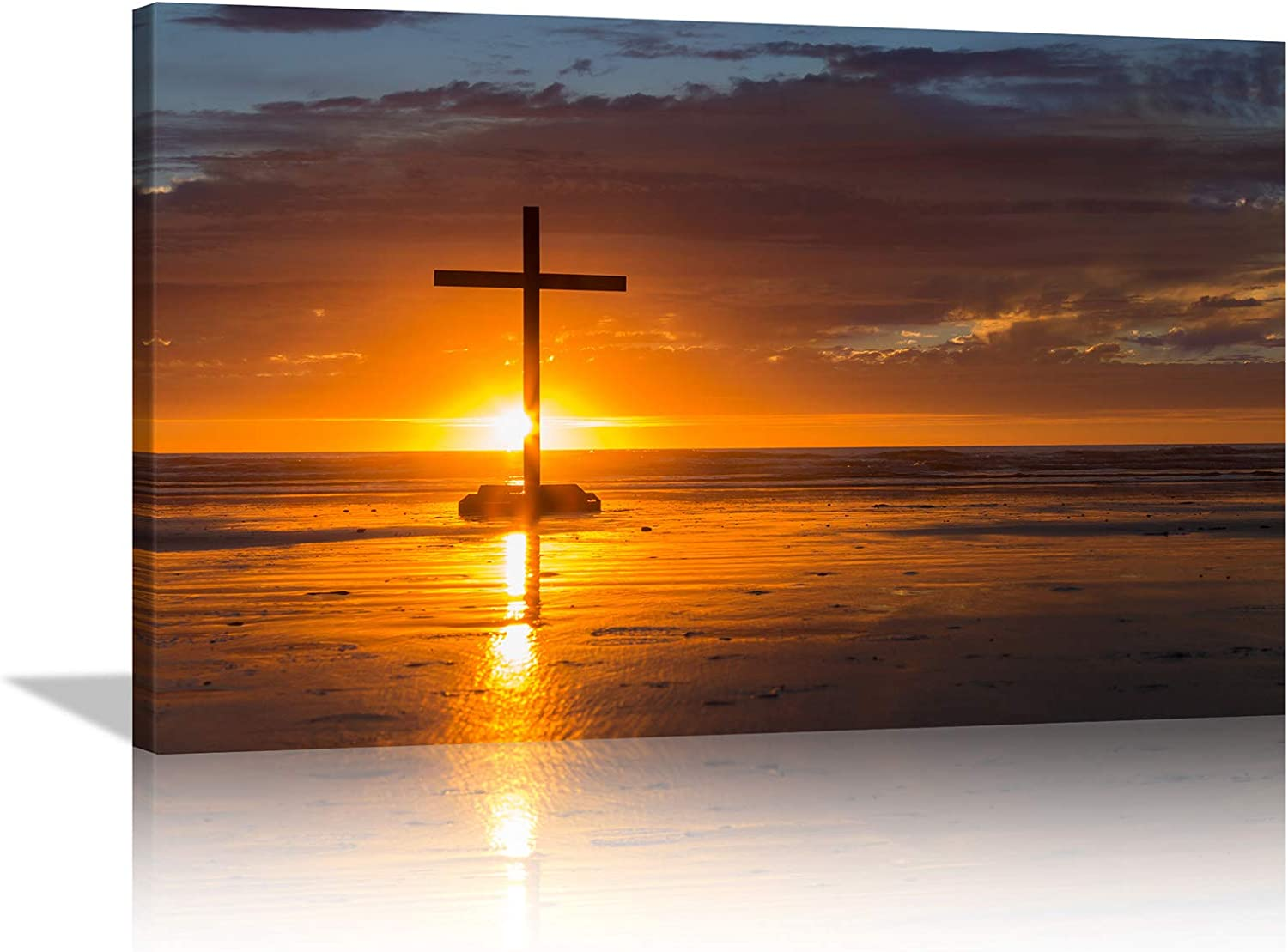 KALAWA Christian Wall Art Crosses for Wall Decor Red Sunset Cross on the Sea Religious Jesus Christ Spiritual Canvas Prints Wall Art home decor for Living Room Bedroom Framed Ready to Hang 16x24 Inch